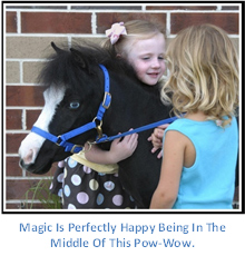 Gentle Carousel Therapy Horse gets a Hug from two Young Fans