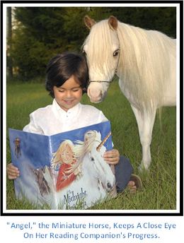 Angel the miniature horse and young reader.