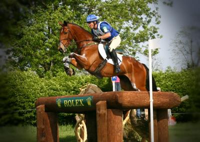 man jumping bay horse