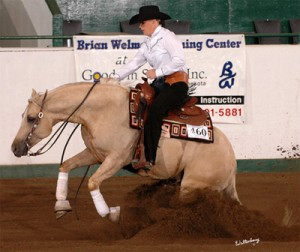 "Tyra Demonstrates Impeccable Form As She Rides & Slides Her Palomino Reining Horse, ""Good N' Ruf."""