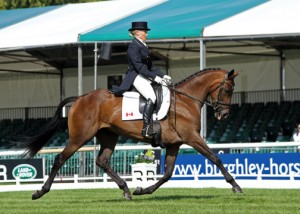 woman riding bay dressage horse