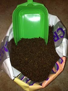 green feed scoop inside bag of senior feed