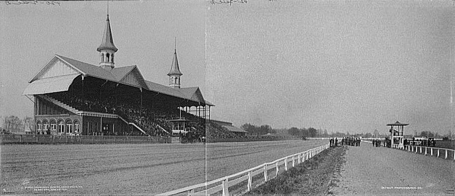 aged photo of Churchill Downs in 1901