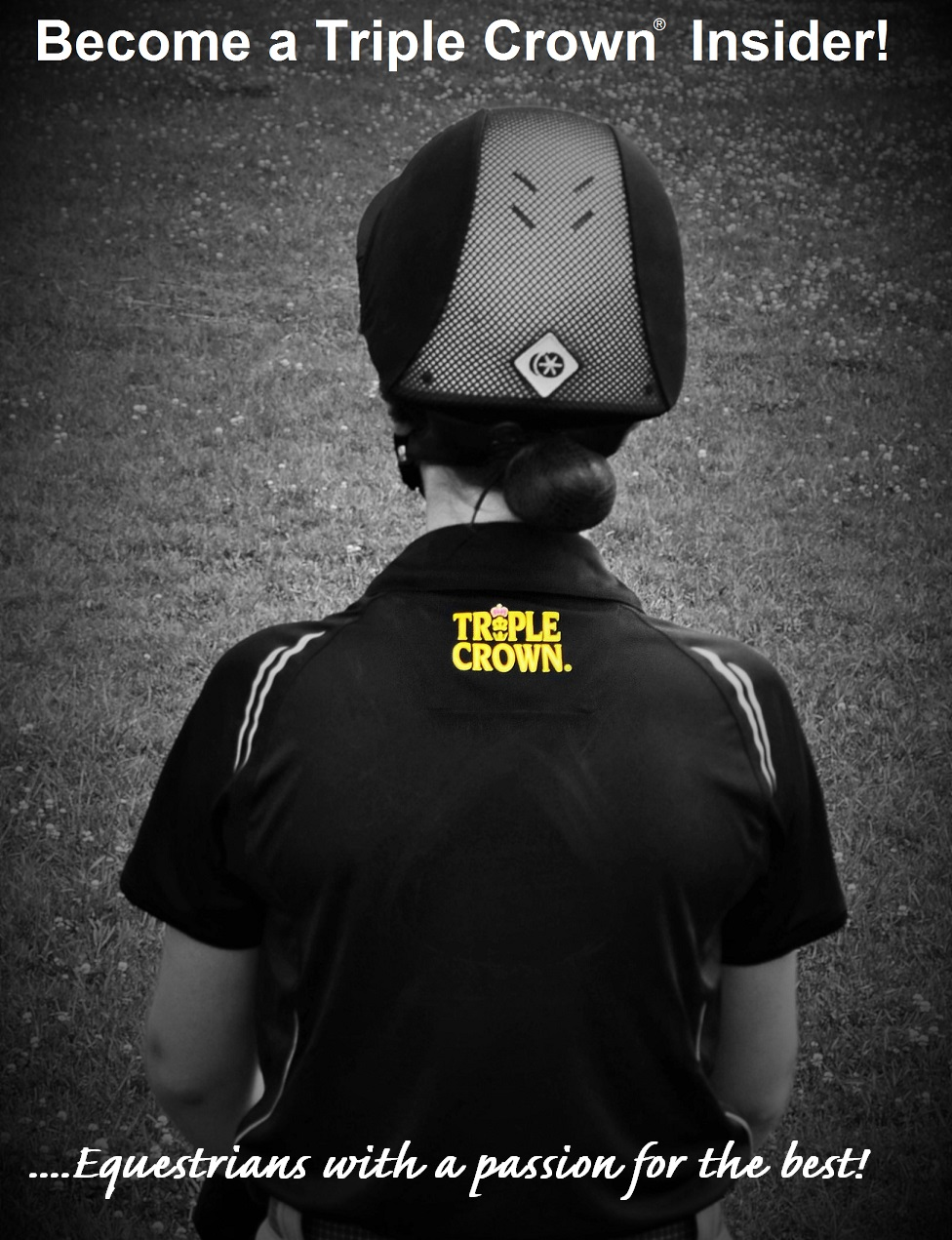 Woman from behind wearing Triple Crown logo shirt