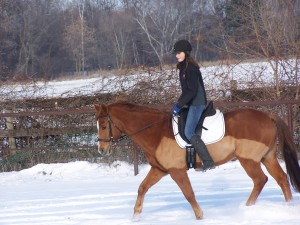 woman riding chesnut horse through snow