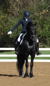 woman on black friesian dressage performance