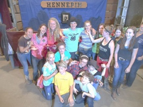 4-H kids in barn