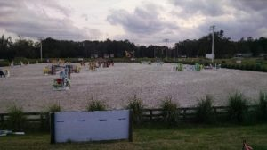 higher ground photo of the showjumping arena