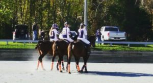 three girls on bay horses during polo match