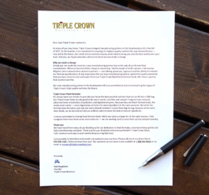 letter from founder of Triple Crown