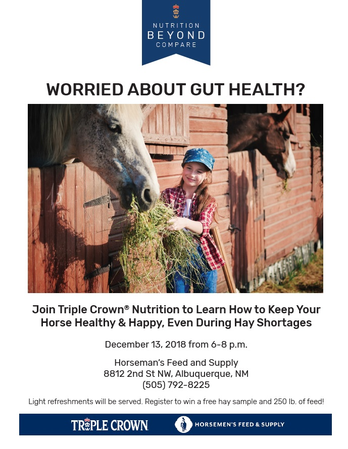 Horsemen's Feed Seminar- Gut Health and Managing Hay Shortages @ Horsemen's Feed and Supply | Albuquerque | New Mexico | United States