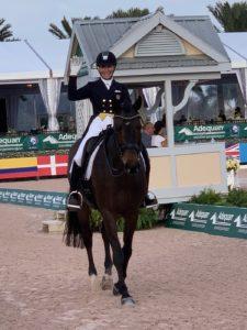 Woman riding dark bay dressage horse