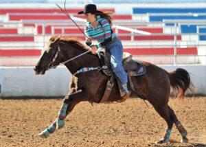 Woman riding chesnut horse.